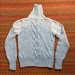 Vintage Sweaters - VINTAGE BLUE CABLE KNIT PULLOVER SWEATER